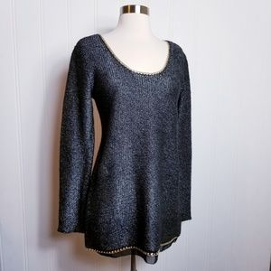 Soft Surroundings Metalic Chain Link Sweater